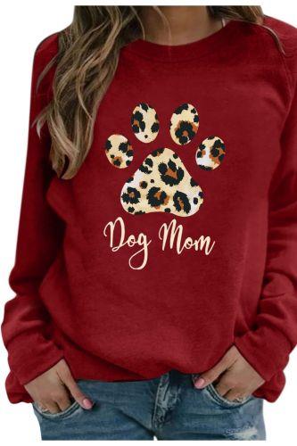 Women Casual Long Sleeve Cat Dog Footprint Cartoon Printing O-neck Fashion Tops Cute Pets Pattern T-shirts Master Necessary
