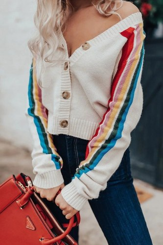 Women Cropped Cardigan Single Breasted v-neck Rainbow striped full sleeve knitted sweater crop sweater cardigan crop top Casual