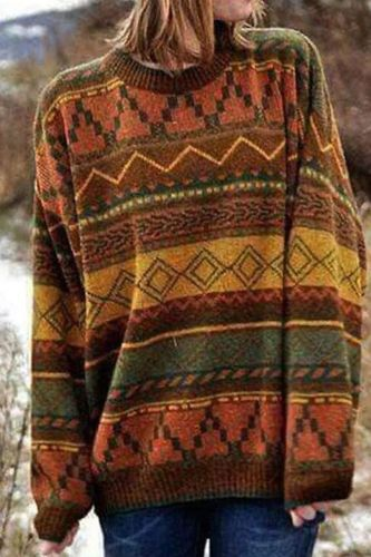 Yellow Geometric Jacquard Vintage Knit Sweater Women O-Neck Pullover Plus Size Korean Tops Harajuku Female Fall Winter Sweaters