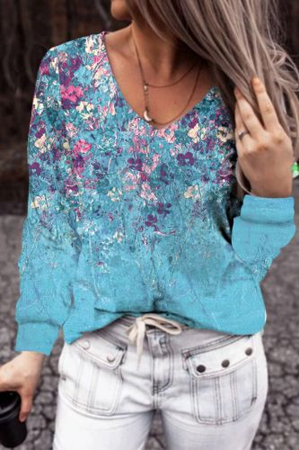 New V Neck Printed Plus Size Long Sleeve T Shirts Women Autumn Casual Loose Vintage Fashion Shirt Clothes Oversize Y2K 2021 Tops