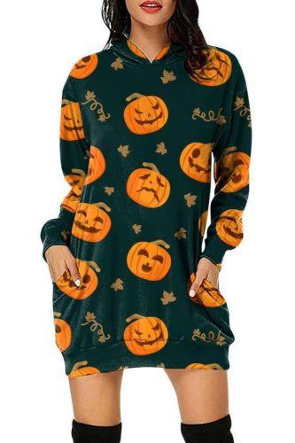 2021 New Halloween Cartoon Pumpkin Printed Dress Women Hooded Dress Autumn Long Sleeve Pockets Loose Mini Dress Lady Vestidos