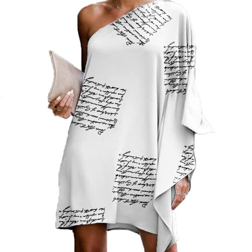 2021 Sexy One-Shoulder Printed Letters Casual Loose Women Spring Dress Ladies Fashion Korean Style Robe SJ7566M