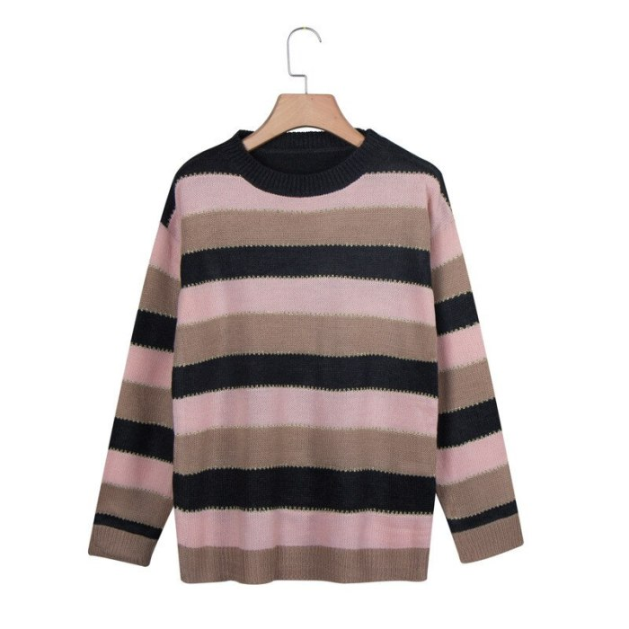 Striped Sweater Women Casual Drop-shoulder Color Block Knitted Sweaters Vintage Batwing Long Sleeve Female Pullover Tops