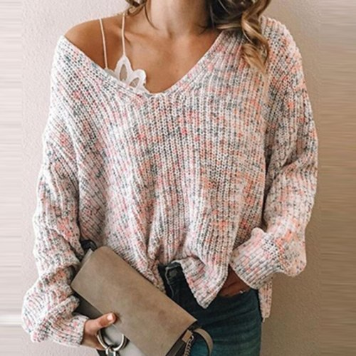 Spring Autumn V-Neck One Shoulder Sweater 2021 New Women Sexy Elegant Warm Sweater Casual Loose Long Sleeve Knitted Jumpers Tops