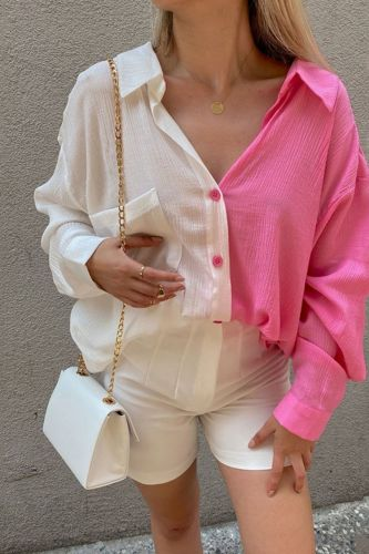 High Street Fashion Candy Color Contrast Shirt Sexy Turn-down Collar Long Sleeve Blouse 2021 Casual Button Autumn Tops For Women