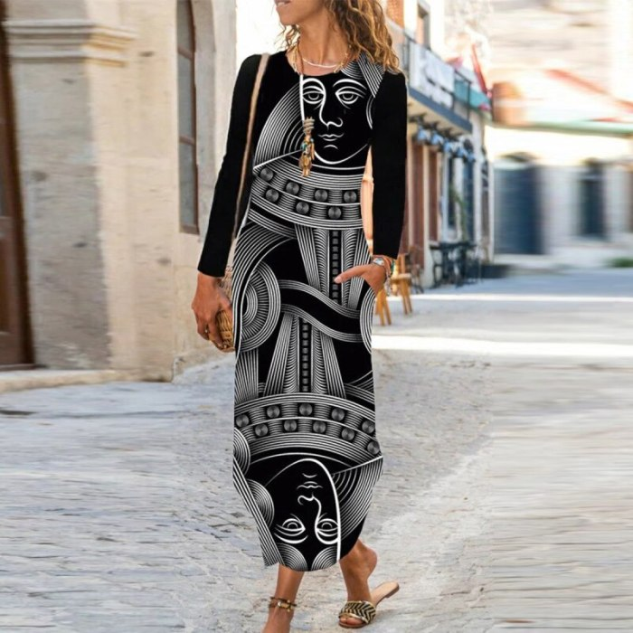 Casual Retro Abstract Face Print Long Dress Women Loose Elegant O Neck Party Dress Spring Autumn Long Sleeve Female Pocket Dress