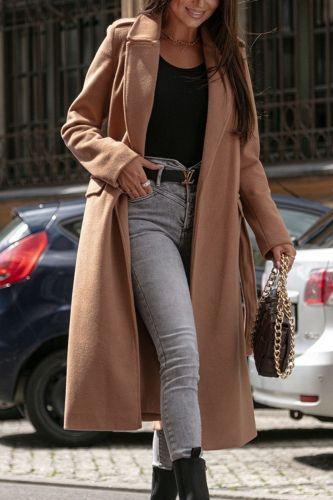 Women Loose Blend Wool Long Overcoat Elegant Lady Fashion Street Tops Cardigan Jacket Autumn Long Sleeve Belted Winter Outerwear