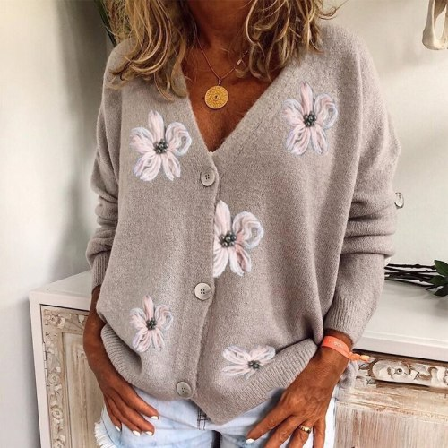 Fashion Embroidered Flower Knitted Sweater Women V Neck Button Cardigan Sweater Autumn Winter Long Sleeve New Casual Tops Jumper