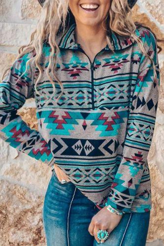 Women Sexy Stand Collar Zipper Shirt Autumn Winter Long Sleeve Tops Pullover Vintage Geometric Print Harajuku Blouses Sweatshirt