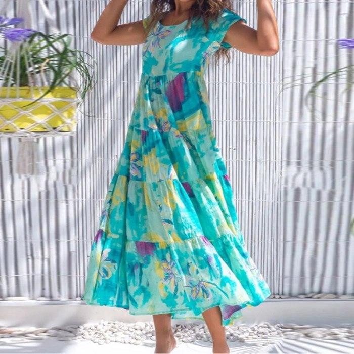 Boho Elegant Floral Print Summer Beach Dress Women O-neck Short Sleeve Casual Dress 2021 Spring Pocket Pleated Long Party Dress