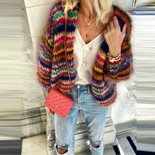 Ladies New Fashion Color Striped Print Cardigan 2021 Spring Long Sleeve Loose Women's Jacket Retro Street Wind jacket
