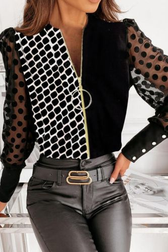 Autumn Zip Long Sleeve Office Lady Blouse Shirts Casual Polka Dot Mesh Lace Tops Blusas Elegant Patchwork Women Shirt Pullovers