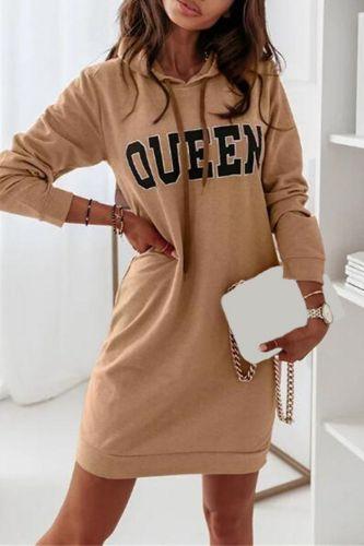 Casual Long Sleeve Autumn Hooded Sweatshirt Dress Fashion Women Loose Pullover Mini Dress Elegant Letter Print Lady Party Dress