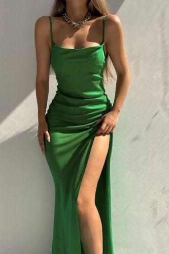 Women Elegant Backless Long Dress Summer Fashion Sleeveless High Slit Maxi Dress Sexy Off Shoulder Sling Satin Party Club Dress