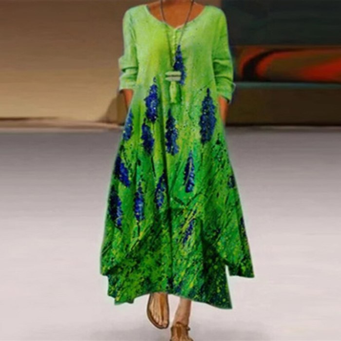 Women Casual 3/4 Sleeve Printed Dresses 2021 Spring Summer V Neck Irregular Party Dress Sexy Pockets Loose A-Line Dress Vestidos