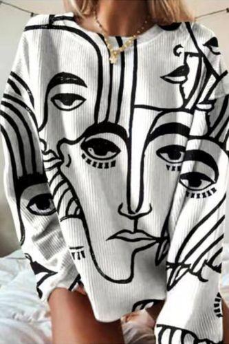 2021 Autumn Long Sleeve Oversized Hoodies 5XL Abstract Cartoon Print Casual Sweatshirts Women Fashion Loose O Neck Pullover Tops