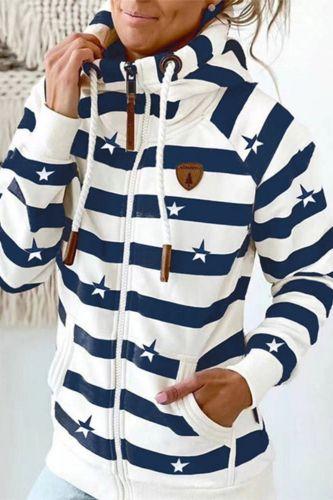 Autumn Winter Fashion Star Stripe Print Sweatshirt Pullover Women Zipper Pocket Hooded Tops Casual Long Sleeve Sweatshirt Hoodie