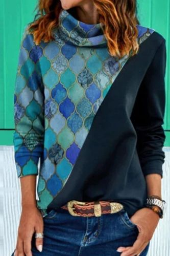Fashion Long Sleeve Autumn Tops Blusa Winter Turtleneck Loose Casual Blouse Pullover Women Contrast Rhombus Print Harajuku Shirt