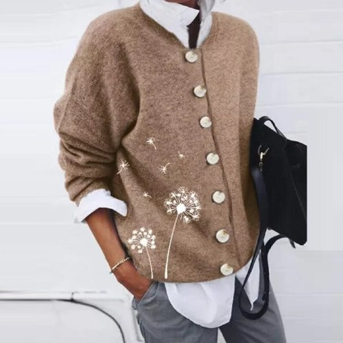 2021 Casual Long Sleeve Autumn Shirt Blusas Retro Dandelion Print Women Loose Blouse Fashion Winter Fleece Button Tops Cardigan