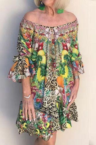 Autumn  Puff Sleeve 3/4 Sleeve One-line Neck Party Dress Ladies Fruit Print A-line Mini Dress Spring Elegant Office Ladies Dress
