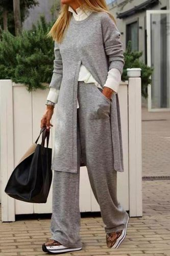 Female Sweatshirt Outfits Casual O Neck Slit Long Tops And Pocket Sport Pants Suits Women Fashion Solid Two Piece Set Tracksuits