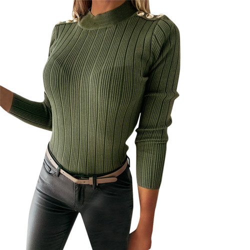 Elegant Women Solid Color Sweaters Patchwork Design Button Decor High Collar Long Sleeve Winter Slim Pullovers Knitted Top