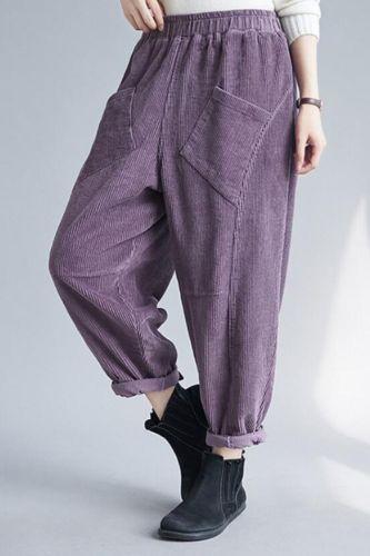 Autumn Winter Women Corduroy Harem Pants New 2020 Vintage Style Solid Color Elastic Waist Loose Ladies Casual Trousers S1839