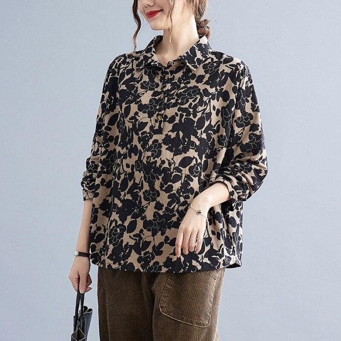 2021 New Arrival Print Floral Vintage Autumn Blouse Shirts Cotton Linen Loose Spring Casual Blouse All-match Women Blouse