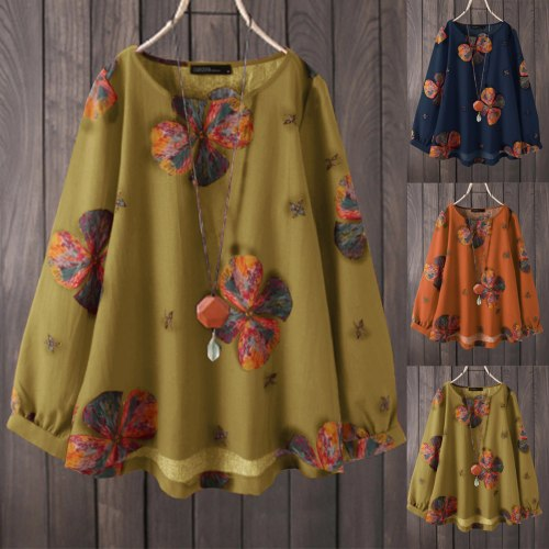 2021 Autumn And Winter Casual Top Women's O-Neck Printing Fashion Casual Retro Loose Cotton Long Sleeve T-shirt футболка