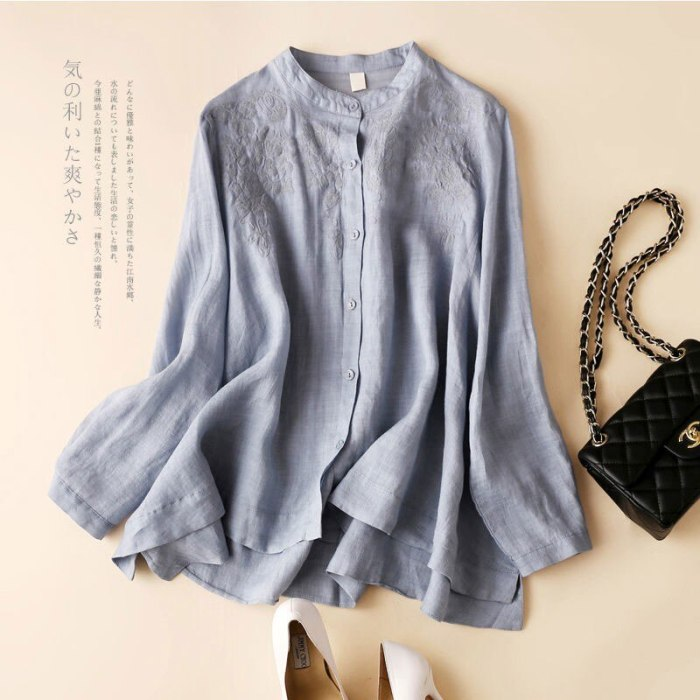 2021 New Spring Arts Style Women Long Sleeve Loose Shirts Plus Size Stand Collar Cotton Linen Embroidery Vintage Blouses V203