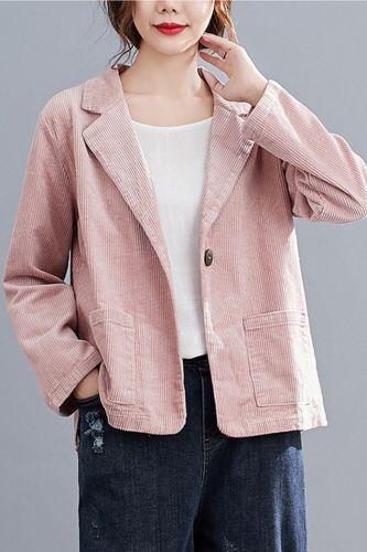 #5215 Spring Autumn Corduroy Blazer Women Loose Vinage Short Suit Jacket Korean Style Casual Coats Female Single Buttons Blazer