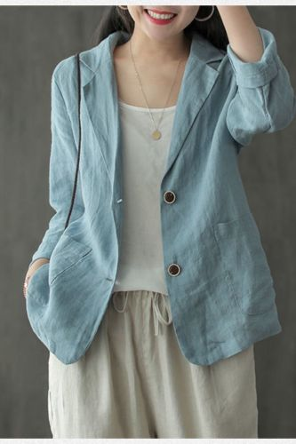 Women Cotton Linen Casual Blazer Jackets New 2021 Summer Vintage Style Solid Color Loose Ladies Thin Outerwear Coats S3890