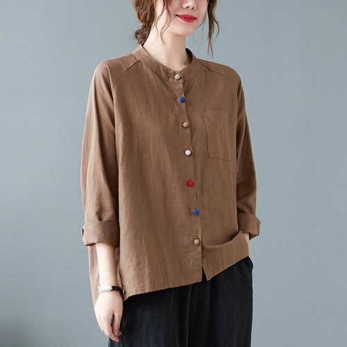 Women Long Sleeve Casual Shirts New Arrival 2021 Autumn Vintage Style Solid Color Loose Female Cotton Linen Tops B949