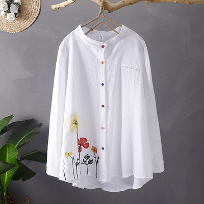2021 New Cotton And Linen Printed Shirt Stand Collar Color Button Long Sleeve Women Blouse
