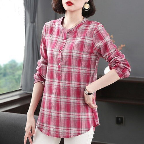 New Women Spring Autumn Blouse Cotton Linen Plaid Shirt Fashion Long Sleeve Blouses Office Shirts Lady Tops Blusas Plus Size 5XL