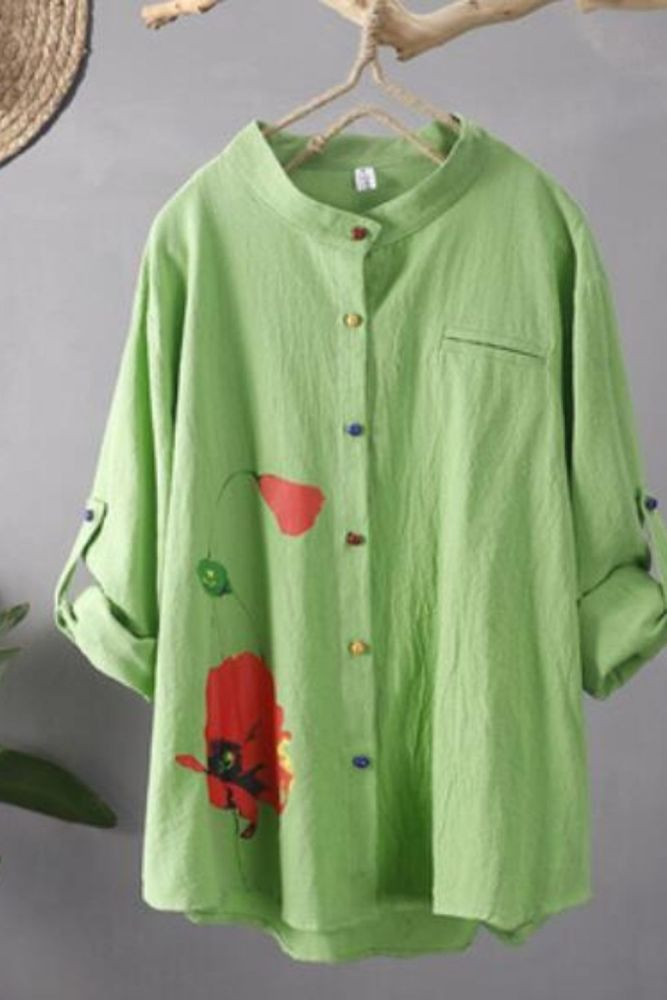 5xl Blouse Plus Size Tunics 2021 Casual Loose Floral White Cotton Linen Button Up Shirt Women Long Sleeve Women Tops Blusas 4xl