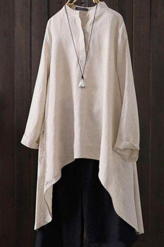 Plus Size cotton Linen Tops Womens Blouse 2019 Vintage Button Down Shirts Long Sleeve Blusas Solid Cardigans Patchwork Tunic