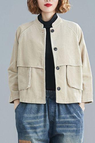 Women Bomber Jacket Coat Big Size Corduroy Thick 2021 Autumn Winter Vintage Female Outerwear Loose Long Sleeve Clothes