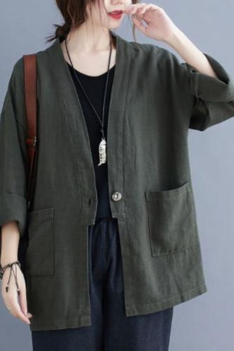 Oversized Women Cotton Linen Casual Jackets New 2021 Autumn Vintage Solid Color Loose Comfortable Female Outerwer Coats S1555