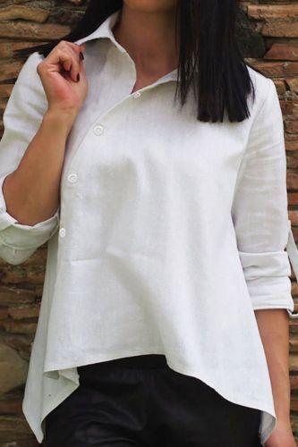 Plus Size 3xl Single-Breasted Female Tops Cotton Linen Blouse Irregular blusas shirt White Khaki Women Casual Shirt Lady Clothes