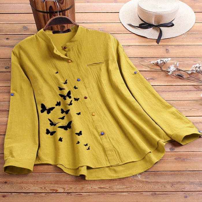 Plus Szie M-5XL Autumn Women T-shirt Solid Butterfly Loose Casual Big Size Fat MM Collar Blouses Long Sleeve Button Clothing Top