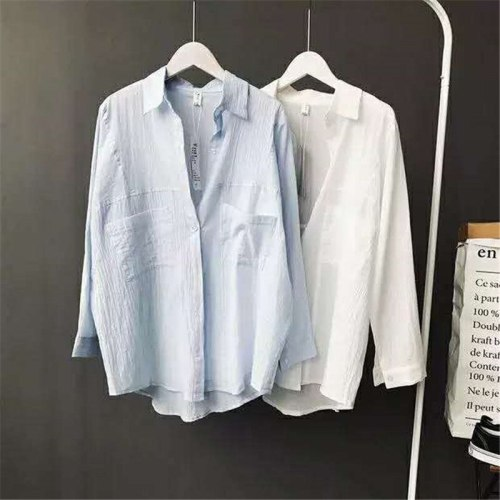 2021 Spring Summer Women White Shirts Blouses Korean Loose Office Shirt Casual Solid Long Sleeve Cotton Linen Tops