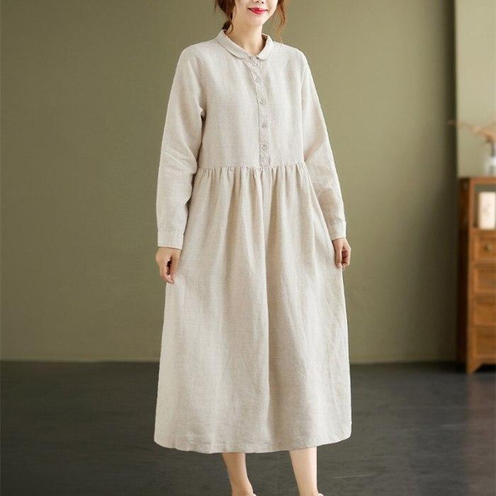 2021 New Korea Style Long Sleeve Autumn Blouse Dress Cotton Linen Sashes Office Lady Work Dress Women Casual Spring Midi Dress