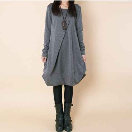 Dress Maternity Autumn Fashion Long Sleeve Loose Casual Pleated Pockets O-Neck Dresses For  Pregnancy Pregnant Women Clothes