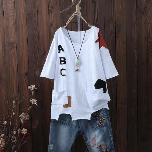 New Arrival Summer Women T Shirt Plus Size Irregularity Loose Casual Tops Tee Shirt Femme Cotton Short Sleeve Tshirt D31