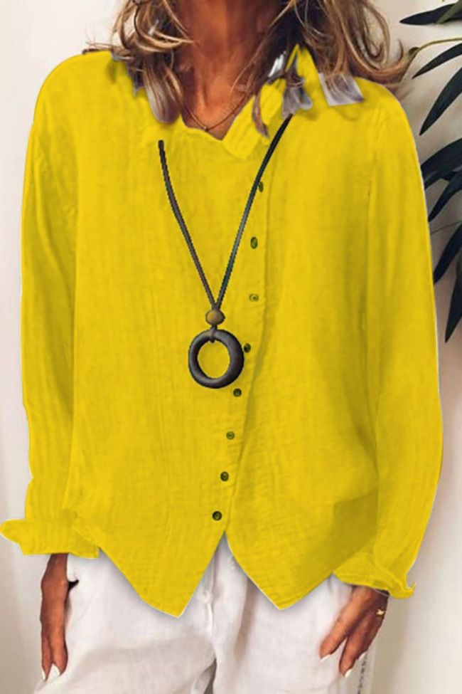 Spring New Women Loose Shirt Blouse Solid Color V-Neck Ladies Cotton Linen Tops Button-Up Long Sleeve Women's Shirts