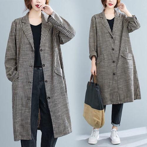2021 Autumn Retro Striped Cotton and Linen Suit Collar Jacket Loose Long Windbreaker Long Sleeve Cardigan Women Shirt t K1295