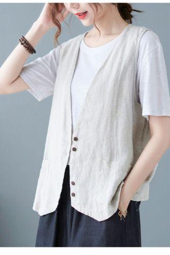 Women'S Literary Linen Vest Summer Short Sleeveless Vest Vest With Casual Loose Women'S Waistcoat