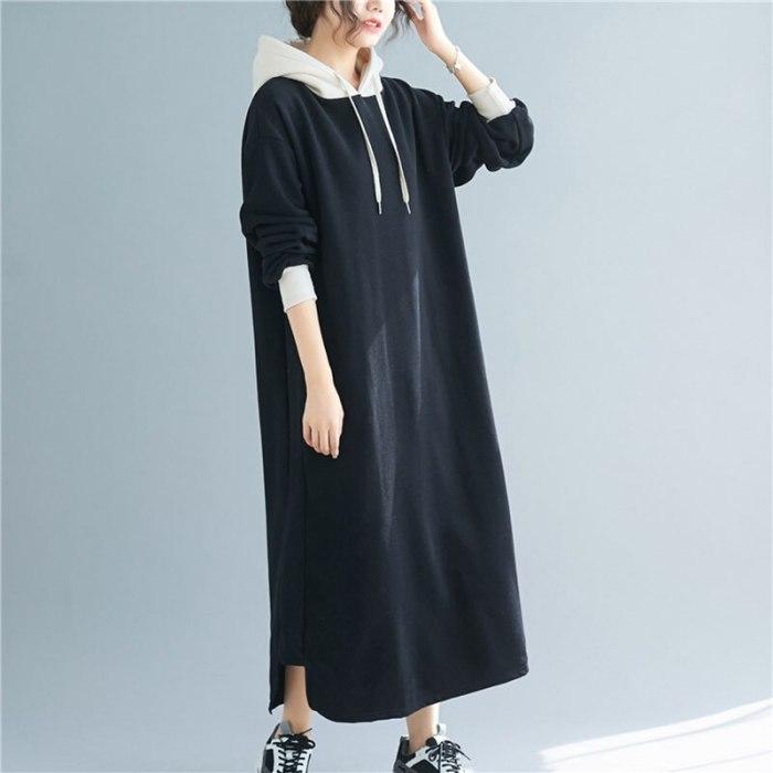 Long Hooded Sweater Dress Women Autumn Winter 2020 Korean Large Size Loose Fashion Plus Velvet Vestidos Mujer Dress Female  Q314