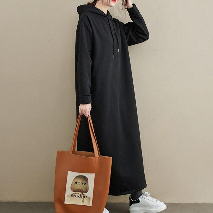 Women Dress 2020 New Casual Long Hooded Dress Female Warm  Dress Casual Temperament Thick Long Sleeved Loose Slim Dress Women